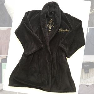 🐱 Black Baby Phat Robe with Gold Detail